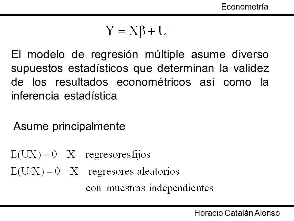 Taller de Econometría Horacio Catalán Alonso Econometría Estos supuestos garantizan que los estimadores de mínimos cuadrados sean insesgados y eficientes
