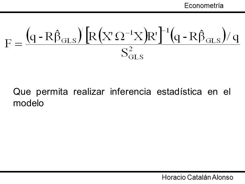Taller de Econometría Horacio Catalán Alonso Econometría Sin embargo GLS requiere la matriz Ω, es decir, en cuanto se afecta la varianza en cada punto de la muestra Una especificación común es atribuir la varianza al cuadrado de uno de los regresores