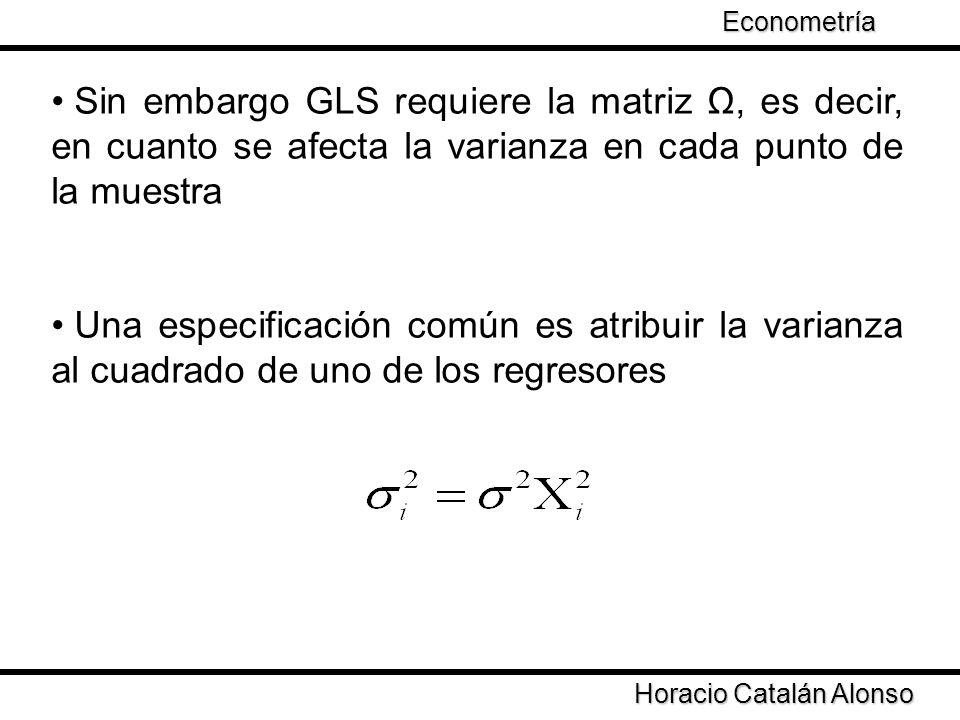 Taller de Econometría Horacio Catalán Alonso Econometría La varianza del error se debe al ingreso (la variable más relevante para el consumo) Se transforma el modelo como Se obtienen los estimadores por GLS