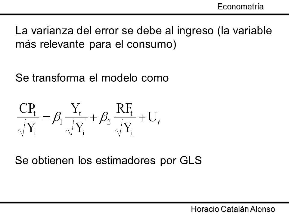 Taller de Econometría Horacio Catalán Alonso Econometría No es el procedimiento más adecuado No se puede determinar que variable afecta a la varianza de los errores