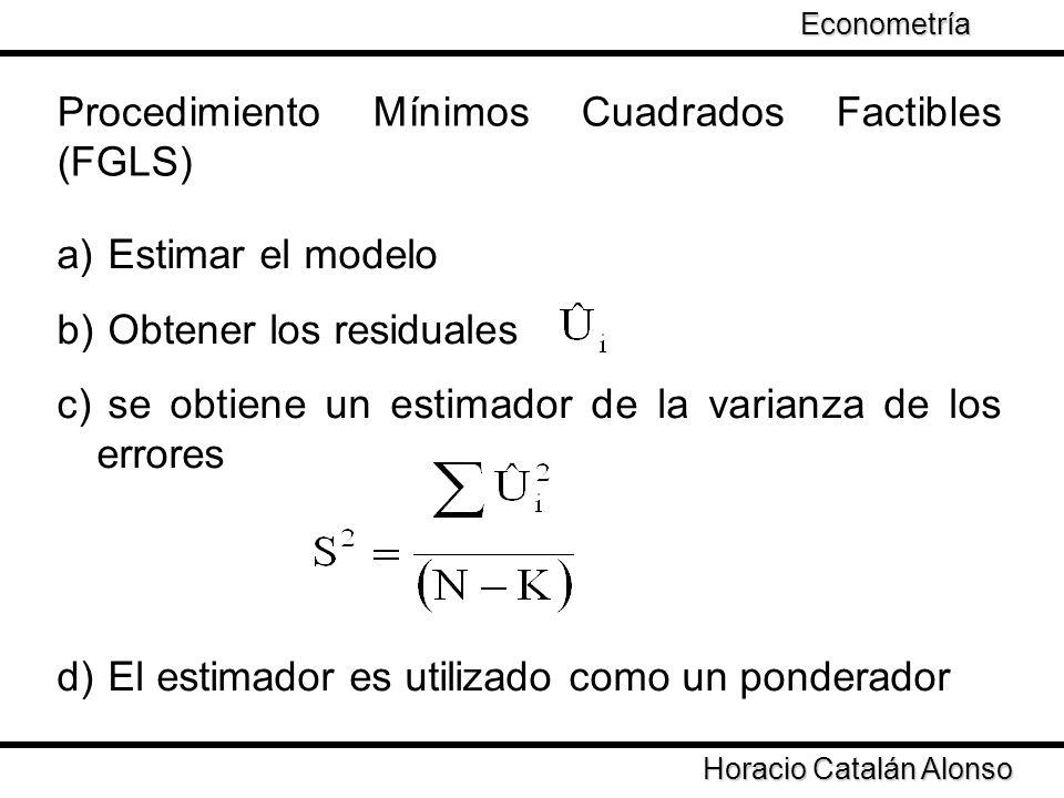 Taller de Econometría Horacio Catalán Alonso Econometría (FGLS) Las variables del modelo son individuales por varianza de los errores de MCO Es una forma de estandarizar las variables