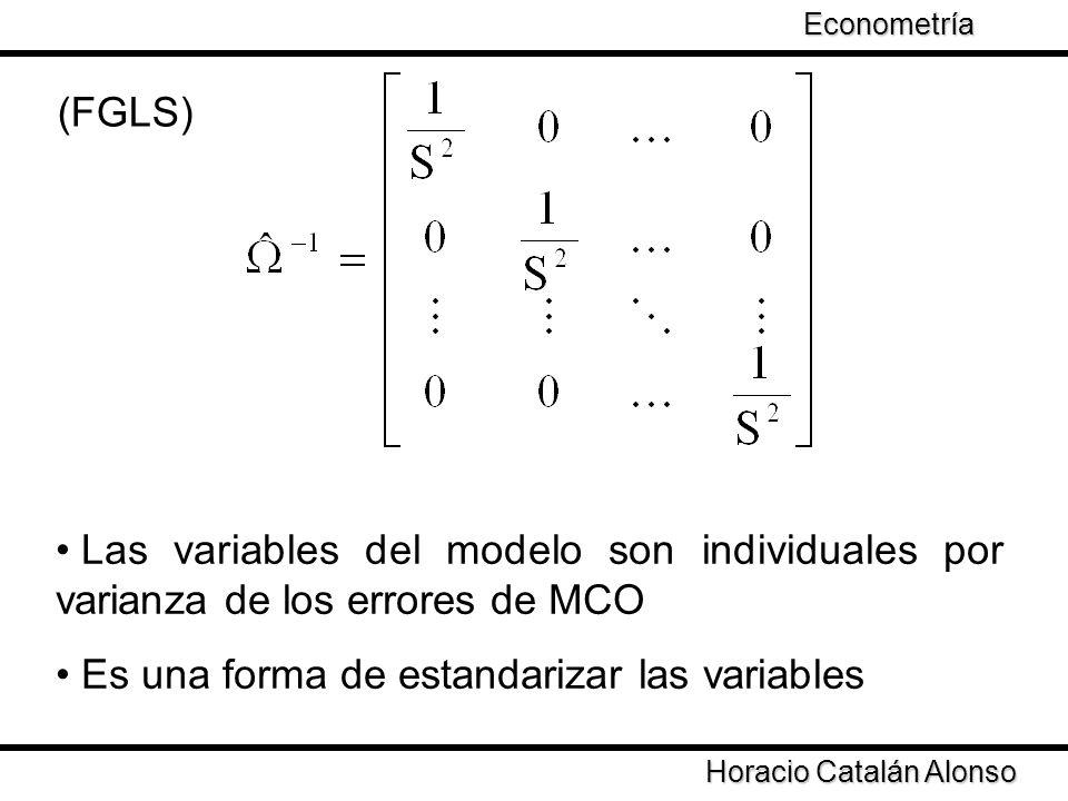 Taller de Econometría Horacio Catalán Alonso Econometría Cuestiones a revisar Transformar las variables por medio de logaritmo a índices o estandarizadas reduce el problema de la varianza ¿Qué sucede si la varianza en series de tiempo sigue un proceso como el siguiente.