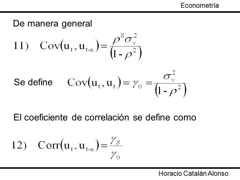 Taller de Econometría Horacio Catalán Alonso Econometría El procesos de autocorrelación es aproximado por el coeficiente de correlación
