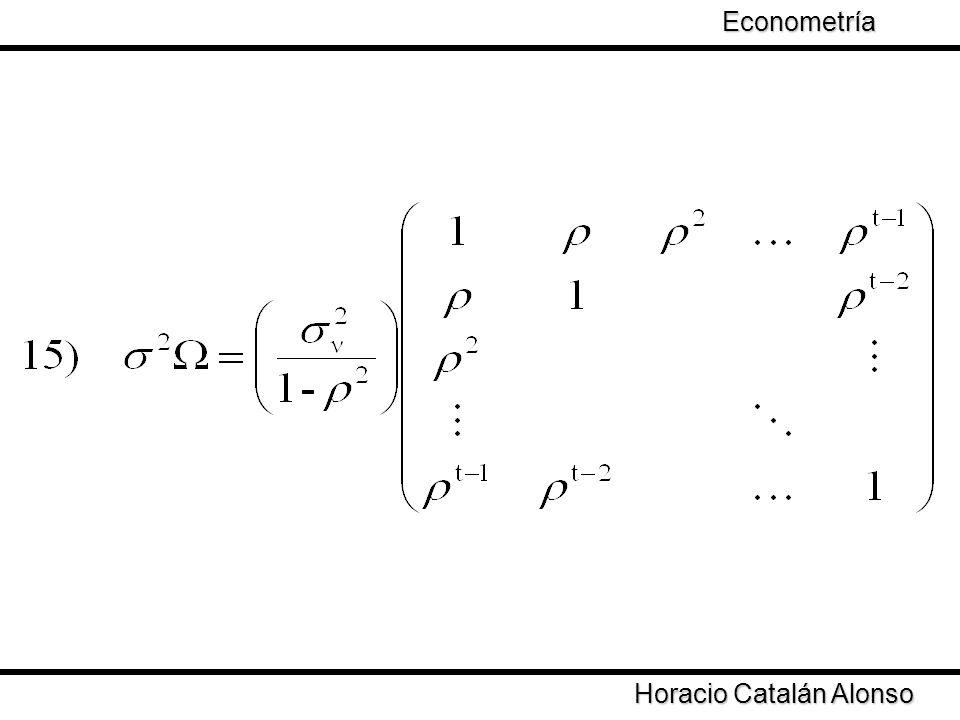 Taller de Econometría Horacio Catalán Alonso Econometría Dado que la matriz Ω no es igual a la identidad es necesario aplicar un método que permita obtener estimadores consistentes: Bajo la estimación de MCO los estimadores siguen siendo insesgados