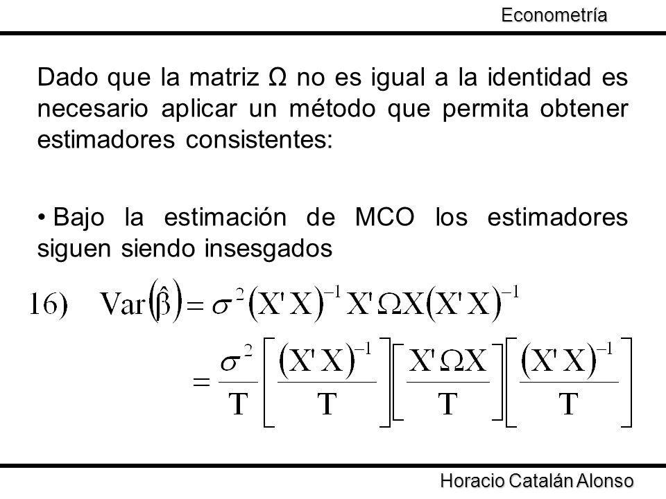 Taller de Econometría Horacio Catalán Alonso Econometría Las propiedades de la varianza dependen de: Es necesario que cuando T sea una matriz positiva
