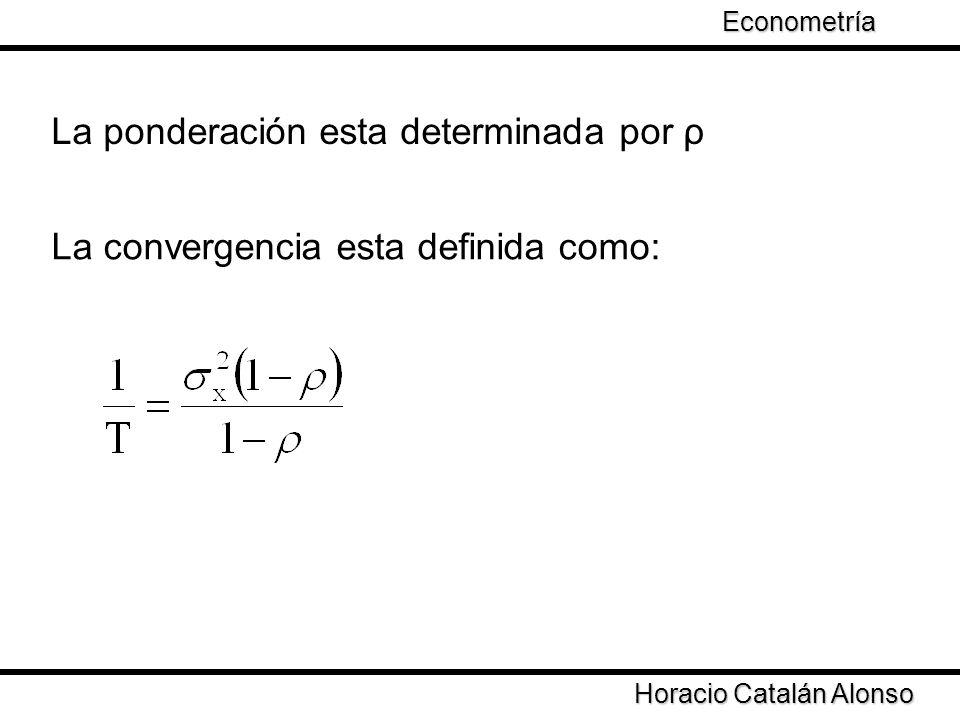 Taller de Econometría Horacio Catalán Alonso Econometría ρ define las propiedades de la varianza de los estimadores por OLS І ρ І < 1 se garantiza convergencia Que pasa en los casos en que І ρ І > 1 І ρ І = 1