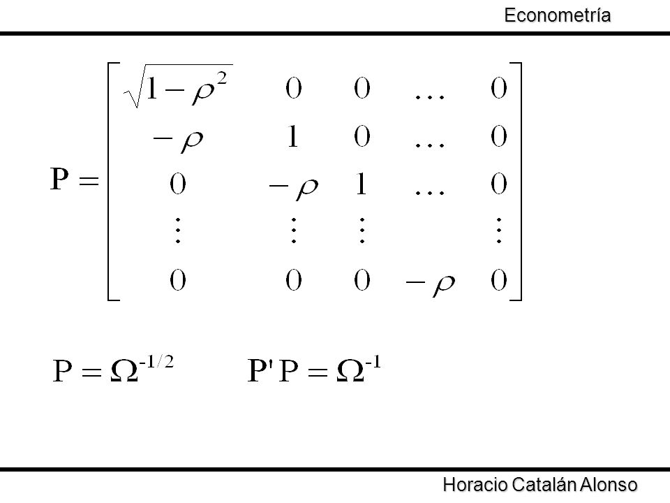 Taller de Econometría Horacio Catalán Alonso Econometría La varianza de los estimadores GLS depende de la varianza de los regresores y de ρ