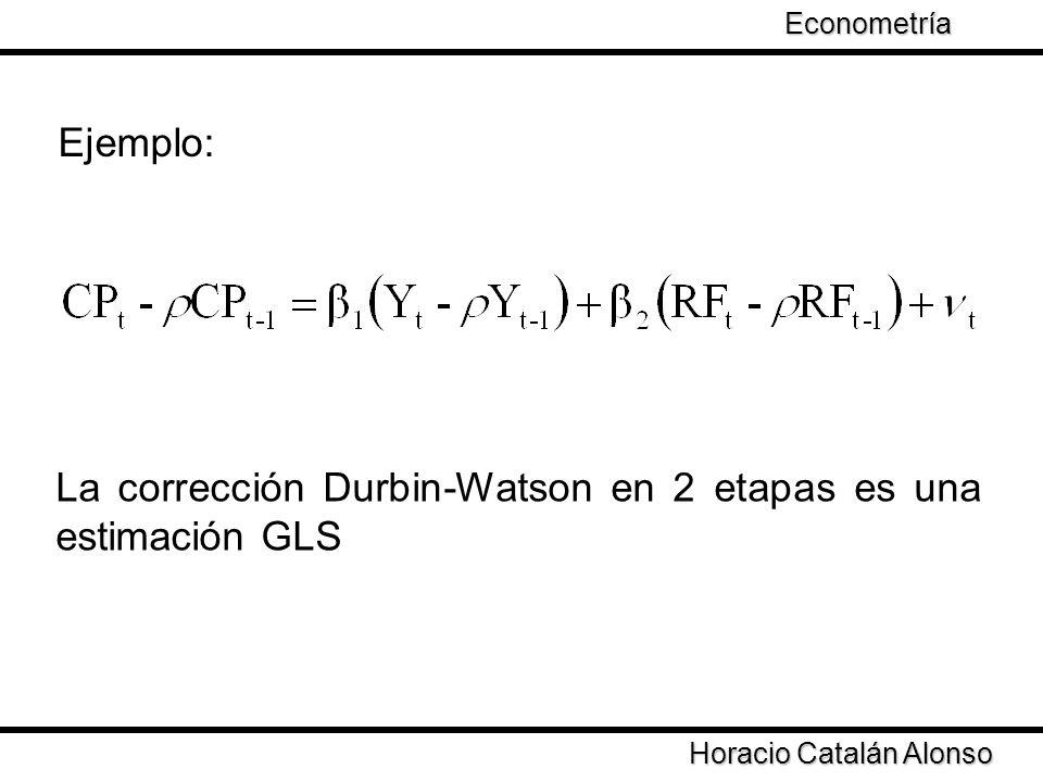 Taller de Econometría Horacio Catalán Alonso Econometría El problema es obtener una estimación de la matriz Es necesario estimar el coeficiente de correlación Una estimación de permite obtener estimadores FGLS ¿Cómo calcular ?