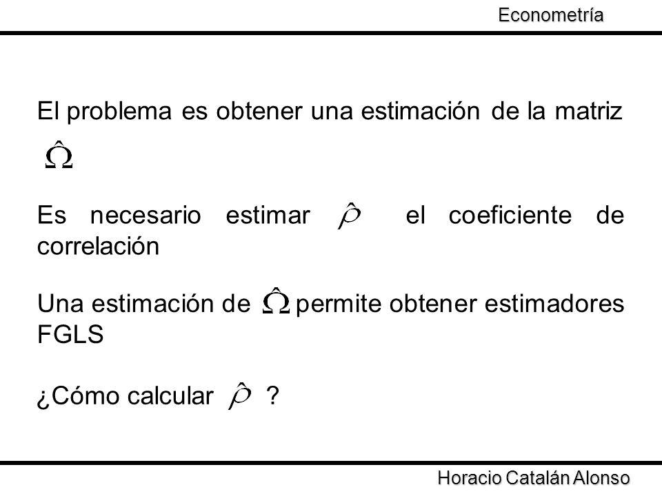 Taller de Econometría Horacio Catalán Alonso Econometría Opciones para estimar 1) Estimar ecuación Residuales OLS (Durbin-Watson 2 etapas).