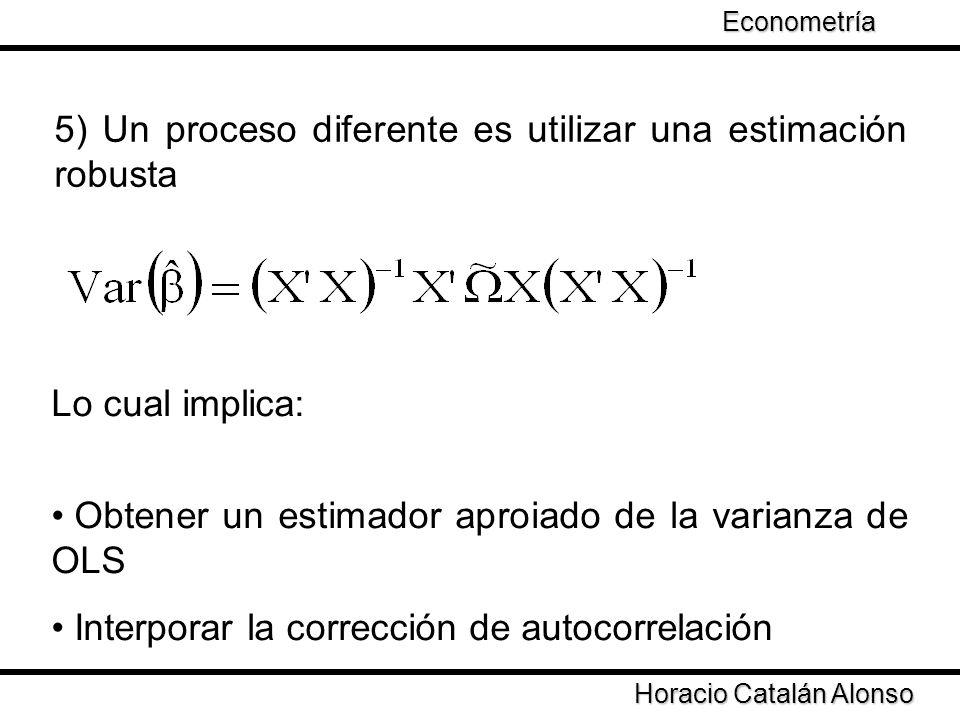 Taller de Econometría Horacio Catalán Alonso Econometría White (1986) porpone un estimador de la varianza Newey y West (1987) incorporar la corrección de autocorrelación El problema es obtener un estimador de