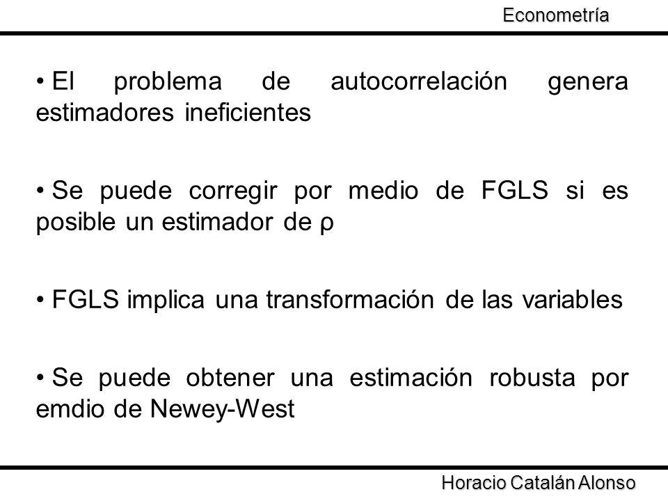 Taller de Econometría Horacio Catalán Alonso Econometría Problemas FGLS asume autocorrelación de primer orden y І Ρ І < 1 ¿Qué sucede cuándo.