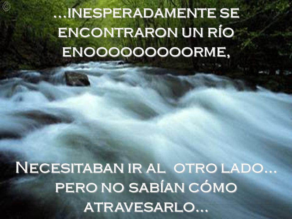 ...inesperadamente se encontraron un río enooooooooorme, Necesitaban ir al otro lado...