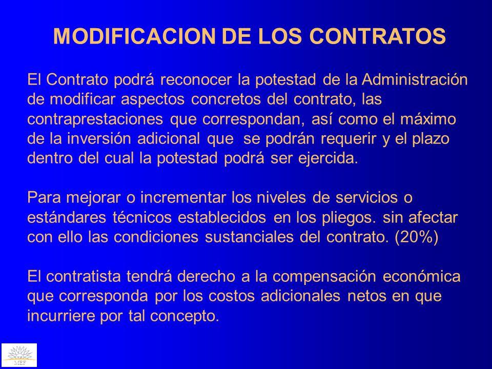 MEF MODIFICACION DE LOS CONTRATOS El Contrato de Participación Público-Privada podrá establecer condiciones, cumplidas las cuales las partes podrán acordar su revisión.