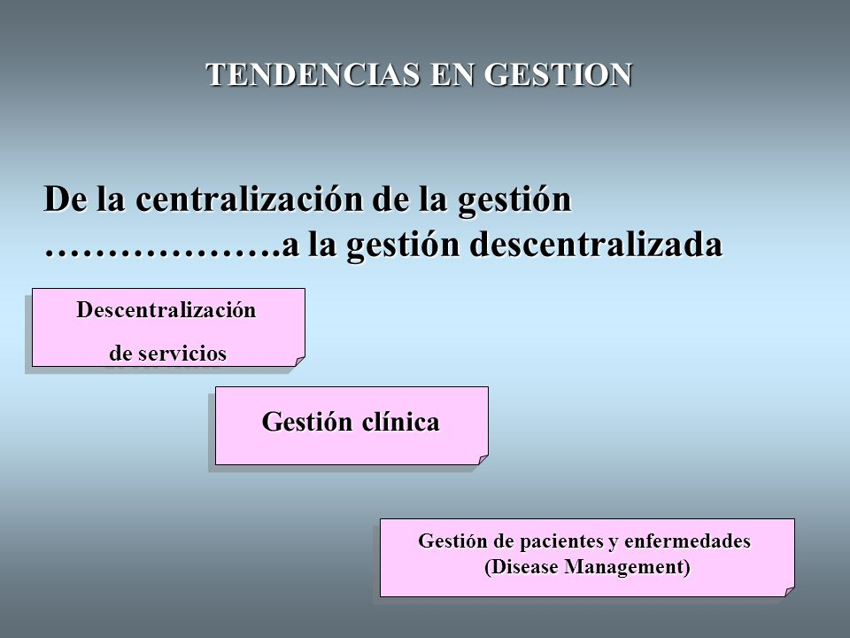 TENDENCIAS EN GESTION De la competencia ………………..a la colaboración Atención gestionada (Managed Care) Atención gestionada (Managed Care) Mercados internos (Internal Markets) Mercados internos (Internal Markets)