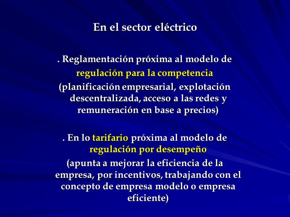 En el sector eléctrico (cont.) Marco reglamentario básico.