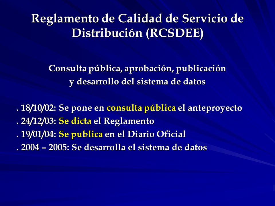 Objeto del RCSDEE El Reglamento establece régimen de calidad de: a) producto técnico a) producto técnico b) servicio técnico c) servicio comercial de distribución de energía eléctrica a fin de lograr niveles de satisfacción adecuados para los usuarios