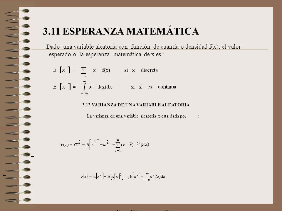 3.11.1 PROPIEDADES DE LA ESPERANZA Sean X e Y variables aleatorias y c una constante perteneciente a los reales: E (c ) = c E (X+c ) = E(X) + c E (cX) = c E(X) E (X+Y) = E(X) + E(Y) E (X-Y) = E(X) - E(Y) Si X e Y son independientes E (XY) = E(X) * E(Y) EJEMPLO 1: En un juego de apuesta, un estudiante debe ganar $ 5, si al tirar 3 monedas obtiene todas cara o todas sello y paga $3 si sale 1 o 2 caras, conviene participar en la apuesta..