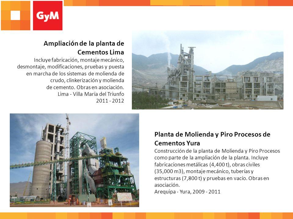 Construcción y ampliaciones de la Planta de Cementos Lima (I y II etapa) Construcción de 6 grandes silos de concreto armado de 15 m de diámetro por 47 m de altura para 30,000 Tn.