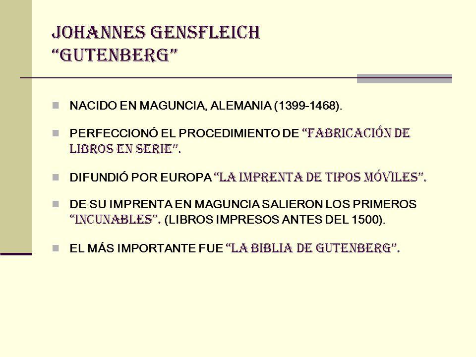 BIBLIA DE GUTENBERG (O BIBLIA DE MAZARINO): traducción de la vulgata También es conocida como Biblia de 42 líneas