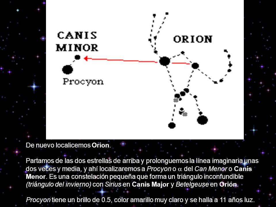 Con Orion al frente y siguiendo la línea desde una de las estrellas del cinturón de Orión en dirección a Betelgeuse, la estrella rojiza por excelencia de la zona, llegaremos a localizar a una distancia de unas cuatro veces a Castor, que junto con Pollux forma parte de la preciosa constelación de los Gemelos o Gemini.