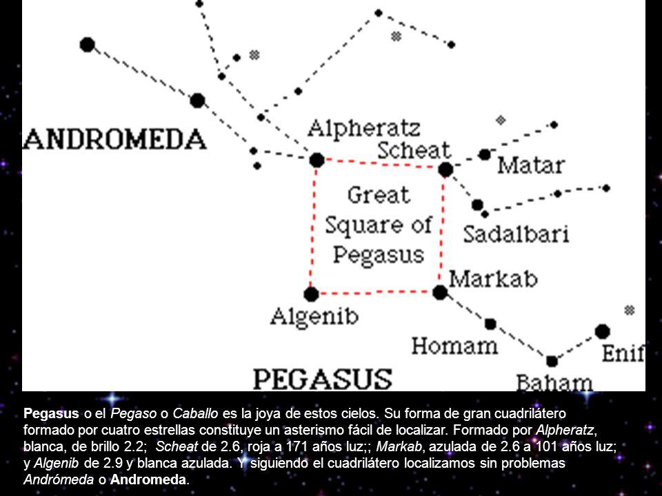 Con Pegasus como punto de partida, si seguimos la línea de las dos estrellas del cuadrilátero localizaremos a la Ballena o Cetus.