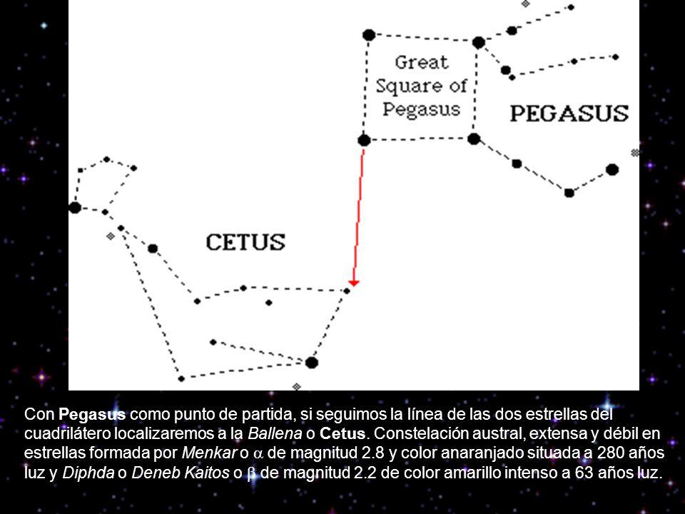 Pero si seguimos la línea anterior, acabaremos llegando a una estrella brillante denominada Ankaa o de magnitud 0.2 de color anaranjada y situada a 170 años luz de la constelación del Fénix o Phoenix, constelación conocida desde la antigüedad que representa al ave mitológica que surgía de sus propias cenizas