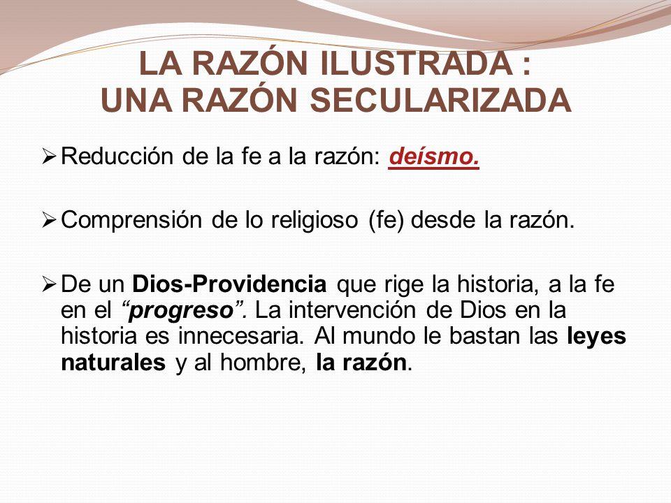 Deísmo La exaltación de la razón como instancia suprema destrona a la fe y a la revelación cristiana.