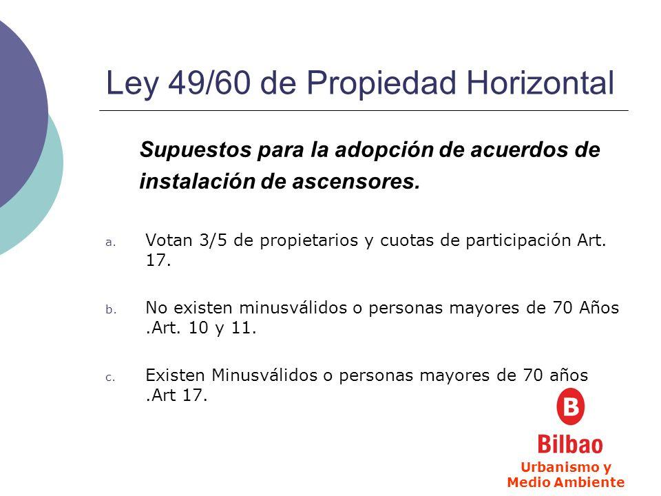 Ley 49/60 de Propiedad Horizontal Supuestos para la adopción de acuerdos de instalación de ascensores.