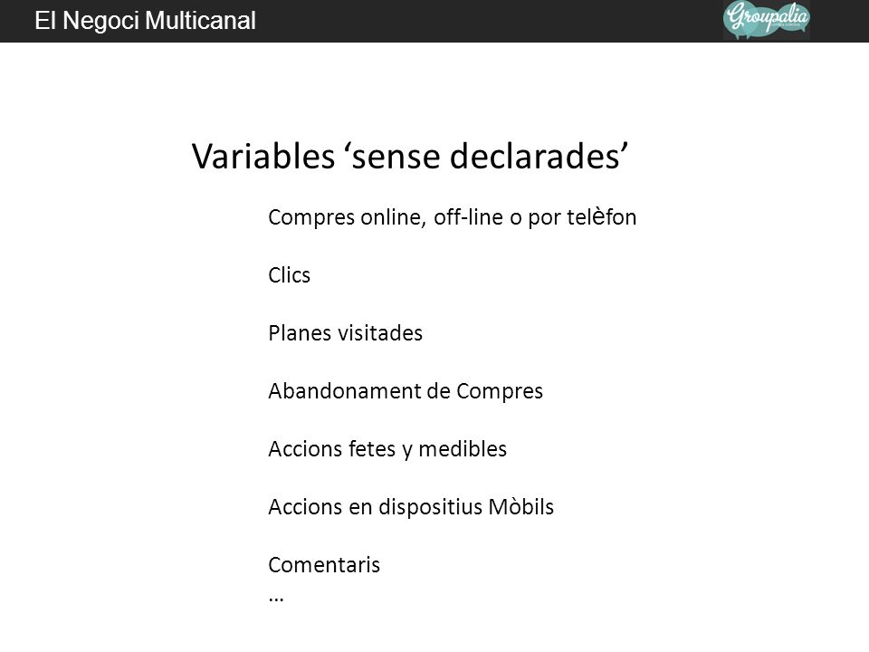 El Negoci Multicanal Nivels dactividad per una analítica multicanal