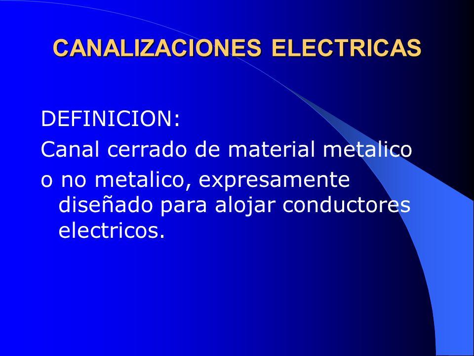 CANALIZACIONES ELECTRICAS CLASIFICACION Por la forma de instalacion: a) A la vista b) Ocultas Por su material de fabricacion: a) Metalicas b) No metalicas
