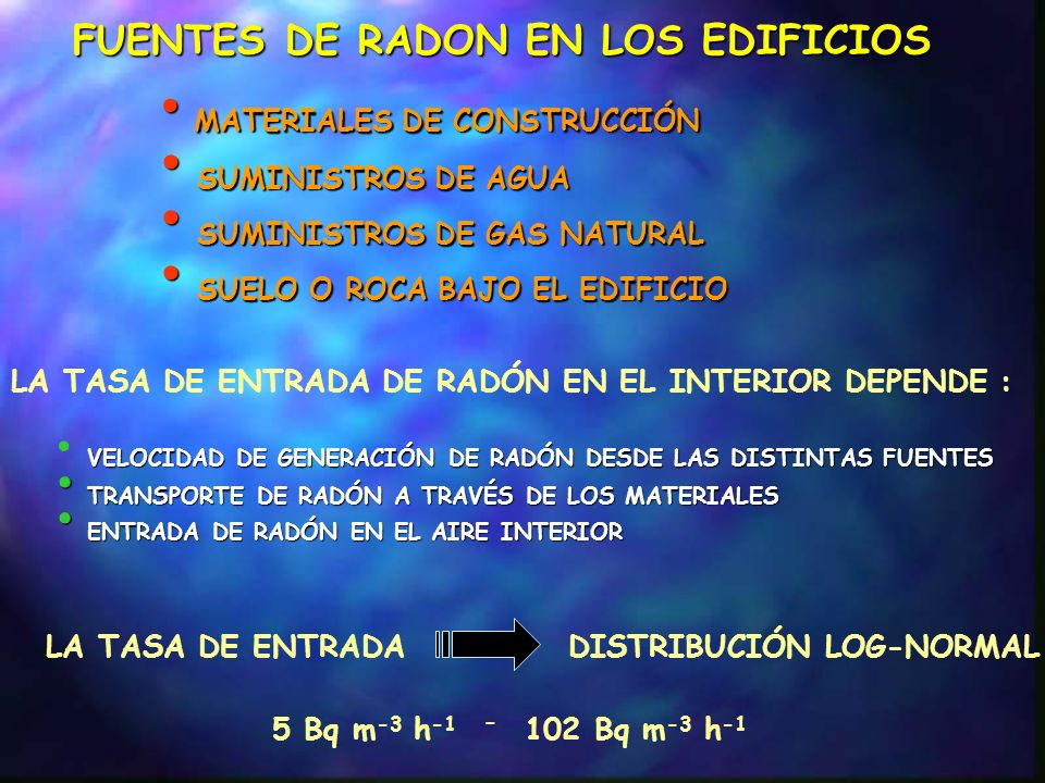 FUENTE SUELO SUBYACENTE DIFUSIÓN Donde: R.- tasa de emanación superficial (Bq m -2 s -1 ) Rn.- constante de desintegración de Ra-222 (s -1 ) Rn.- constante de desintegración de Ra-222 (s -1 ) C suelo, Ra.- actividad especifica de Ra-226 en el suelo (Bq kg -1 ) L Rn,suelo.- la distancia de difusión del Rn-222 en el suelo (m) L Rn,placa.- la distancia de difusión del Rn-222 en placa (m) suelo.- densidad del suelo (kg m -3 ) suelo.- densidad del suelo (kg m -3 ) L c.- espesor de la placa de hormigón (m) F r.- capacidad de emanación F placa,ps.- porosidad de la placa F suelo,ps.- porosidad del suelo Tasa de emanación superficial a través de una placa de hormigón