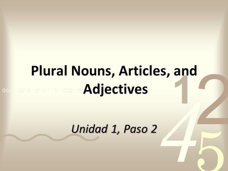 Plural Nouns, Articles, and Adjectives