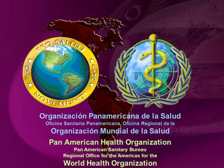 Pan American Health Organization Pan American Sanitary Bureau Regional Office for the Americas for the World Health Organization Organización Panamericana.