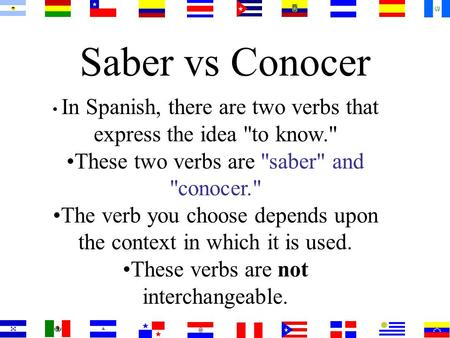 Saber vs Conocer In Spanish, there are two verbs that express the idea to know. These two verbs are saber and conocer. The verb you choose depends.