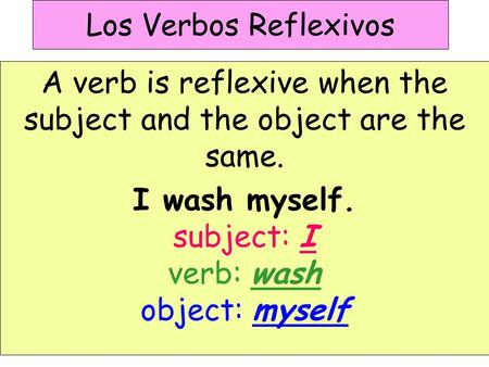 Los Verbos Reflexivos A verb is reflexive when the subject and the object are the same. I wash myself. subject: I verb: wash object: myself.