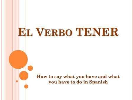 E L V ERBO TENER How to say what you have and what you have to do in Spanish.