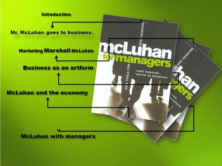 Introduction Mr. McLuhan goes to business. Marketing Marshall McLuhan Business as an artform McLuhan and the economy McLuhan with managers.