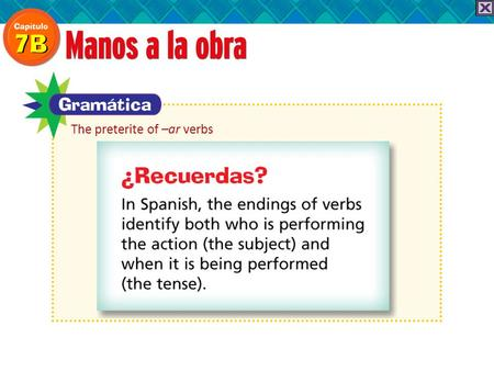 The preterite of –ar verbs. To talk about actions that were completed in the past, you use the preterite tense. To form the preterite tense of a regular.