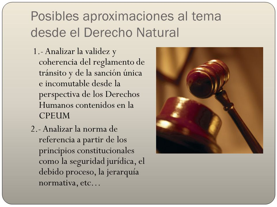 Posibles aproximaciones al tema desde el Derecho Natural 3.- Identificar el posible conflicto o colisión de principios como el interés general o bien común y la seguridad jurídica y el debido proceso.