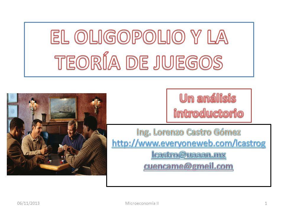 06/11/2013Microeconomía II2 El oligopolio.Características y equilibrios.