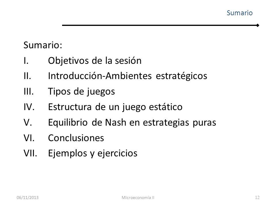 13 Entender, razonar y utilizar los siguientes conceptos y metodologías de análisis: Teoría de juegos Juego estático vs juego dinámico Juego con información perfecta vs imperfecta Qué es una estrategia Qué es un equilibrio de Nash I.