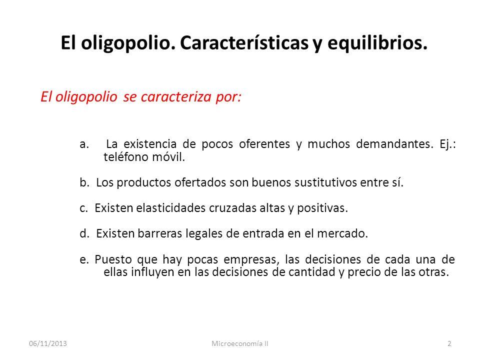 06/11/2013Microeconomía II3 El oligopolio.Características y equilibrios.
