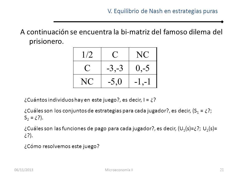 22 Para resolver un juego como el anterior, la solución o concepto más utilizado es el equilibrio de Nash.