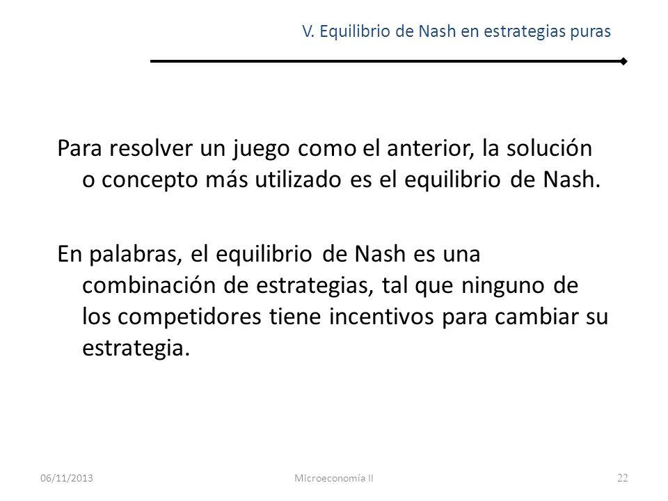 23 De manera más formal, un equilibrio de Nash es una combinación de estrategias, tal que la estrategia utilizada por cada jugador es su mejor respuesta a las estrategias utilizadas por el resto de los jugadores.