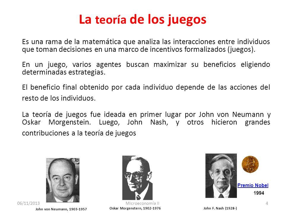 06/11/2013Microeconomía II5 La teoría de los juegos Se denomina juego a la situación interactiva especificada por el conjunto de participantes, las posibles acciones que puede seguir cada participante, y el conjunto de beneficios.