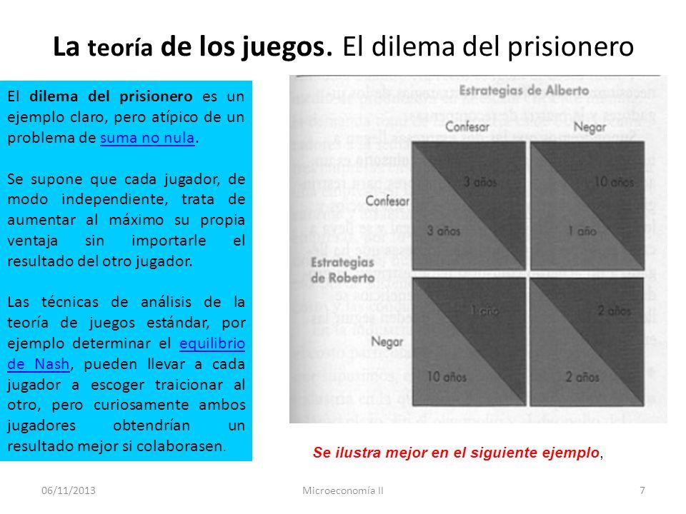 06/11/2013Microeconomía II8 EJEMPLO: SENCILLO PARA ILUSTRAR LO QUE ES LA TEORÍA DE JUEGOS.