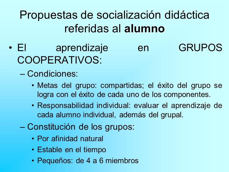 alumno Propuestas de socialización didáctica referidas al alumno TÉCNICAS para el trabajo en grupo.