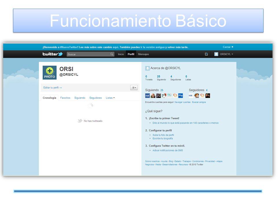 Perfil: cada usuario tiene un perfil personal donde aparece su información básica: nombre de usuario, imagen, lugar, página web, etc.