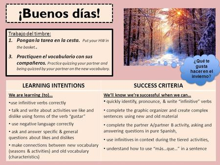 LEARNING INTENTIONSSUCCESS CRITERIA We are learning (to)… use infinitive verbs correctly talk and write about activities we like and dislike using forms.
