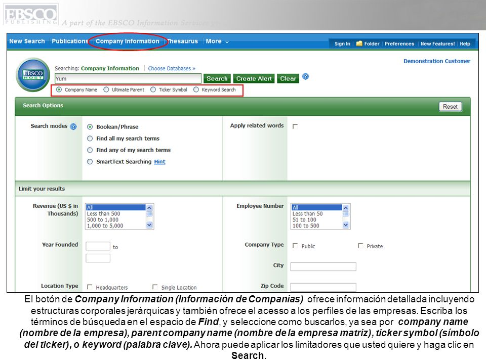 La lista de resultados sobre la información de compañías aparece en orden por ingreso.